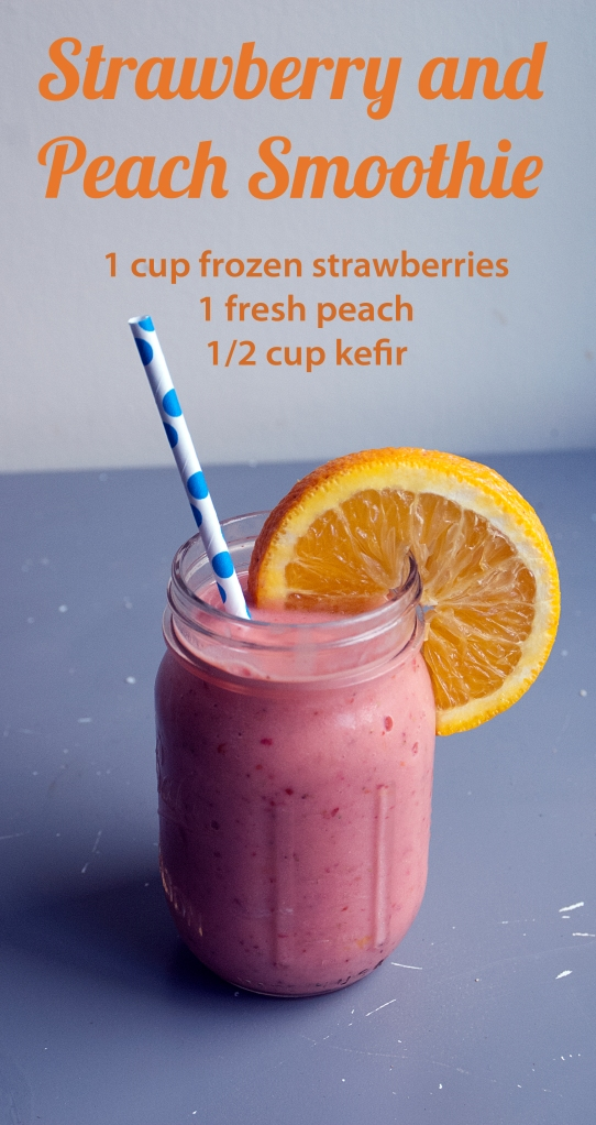 smoothie with peaches, strawberries, and kefir
